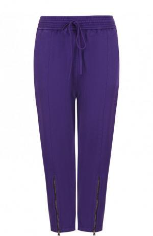 Укороченные хлопковые брюки с эластичным поясом Roque. Цвет: фиолетовый
