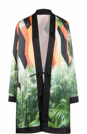 Удлиненная блуза с запахом и принтом Dries Van Noten. Цвет: разноцветный