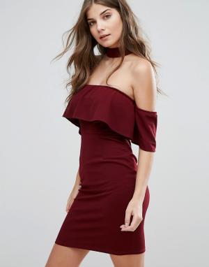 Parisian Платье с открытыми плечами и чокером. Цвет: красный