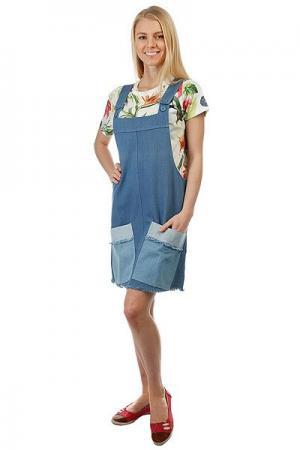 Платье женское  Tilted Denim Overall Blue Stussy. Цвет: синий