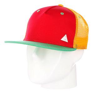 Бейсболка с сеткой True Spin 3 Tone Blank Trucker Cap Red/Yellow/Green TrueSpin. Цвет: желтый,зеленый,красный