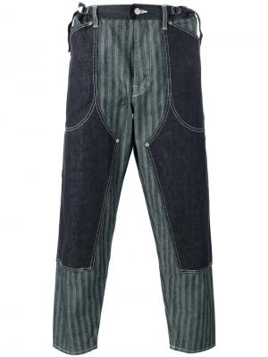 Striped layered loose-fit trousers Ganryu Comme Des Garcons. Цвет: синий