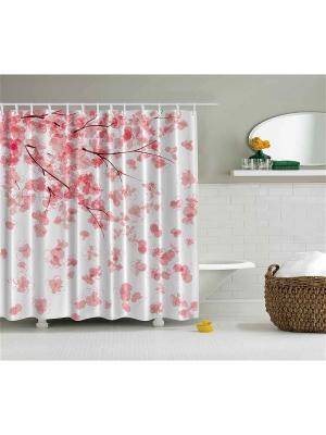 Фотоштора для ванной Лепестки сакуры на ветру, 180*200 см Magic Lady. Цвет: красный, розовый