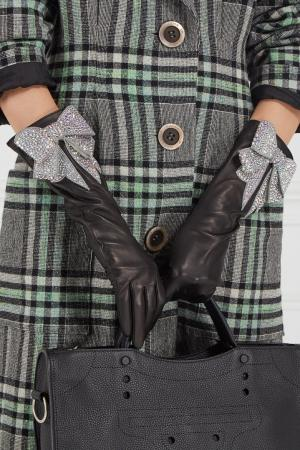 Кожаные перчатки с бантом Gucci. Цвет: черный