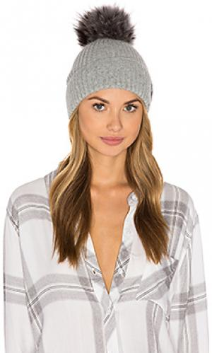 Лыжная шапочка с помпоном из меха азиатского енота SAM.. Цвет: серый