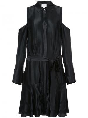 Атласное платье с поясом Alexis. Цвет: чёрный