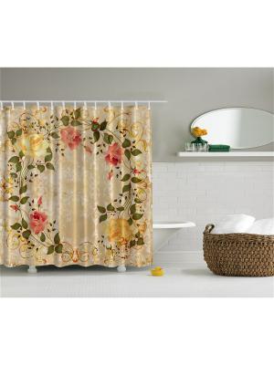 Фотоштора для ванной Розовый венок, 180*200 см Magic Lady. Цвет: зеленый, бежевый, розовый, желтый