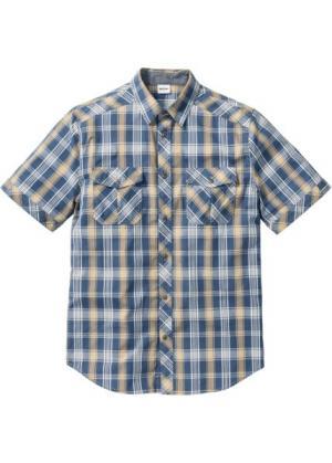 Рубашка Regular Fit с коротким рукавом (бежевый в клетку) bonprix. Цвет: бежевый в клетку