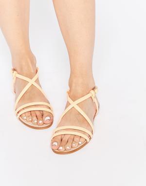 Miista Телесные кожаные сандалии с ремешками Jo. Цвет: оранжевый