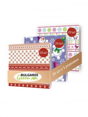 Набор новогодний Яркие Узоры из 3 упаковок трехслойных салфеток с ярким принтом, 3х20шт Bulgaree Green. Цвет: красный, розовый, фиолетовый