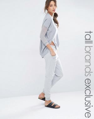 One Day Tall Зауженные спортивные штаны с манжетами в рубчик. Цвет: серый