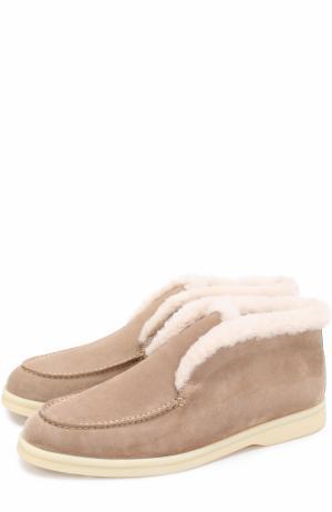 Замшевые ботинки с внутренней отделкой из нутрии Loro Piana. Цвет: темно-бежевый