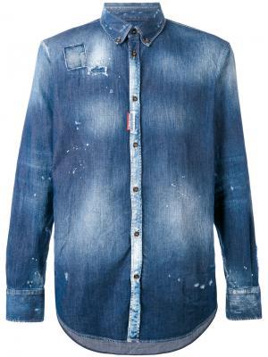 Джинсовая рубашка тай-дай Dsquared2. Цвет: синий