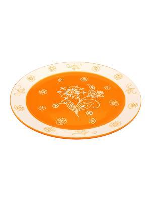 Блюдо Цветочное оранжевое поле Elan Gallery. Цвет: оранжевый