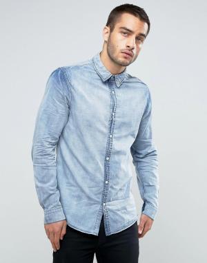 New Look Классическая джинсовая рубашка с эффектом кислотной стирки. Цвет: синий