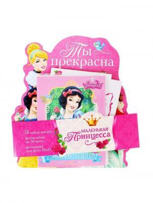 Набор: фоторамка + фотоальбом на 36 фото с наклейками Ты прекрасна, Принцессы Disney. Цвет: светло-зеленый,молочный,розовый