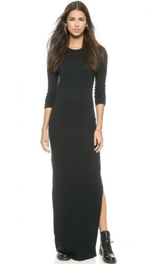 Кашемировое платье с разрезом сбоку Enza Costa. Цвет: голубой