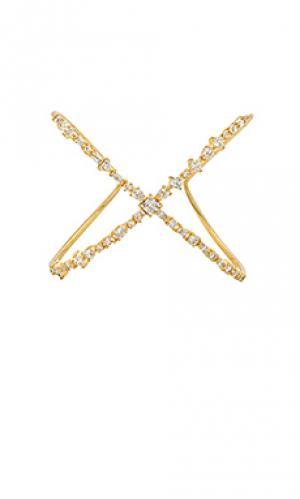 Браслет кафф scattered gem Luv AJ. Цвет: металлический золотой