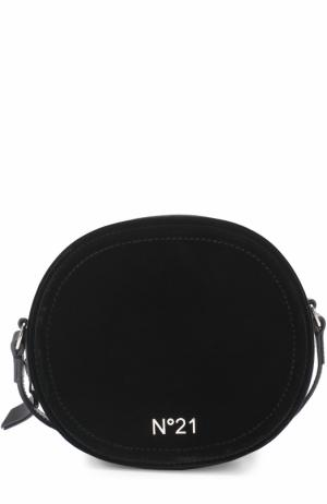 Бархатная сумка с логотипом бренда No. 21. Цвет: черный