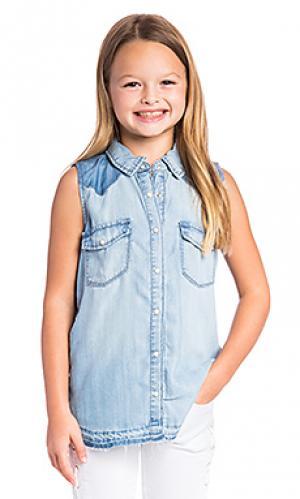Рубашка на пуговицах без рукавов BLANKNYC. Цвет: синий