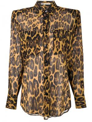 Рубашка с леопардовым принтом Alessandra Rich. Цвет: телесный
