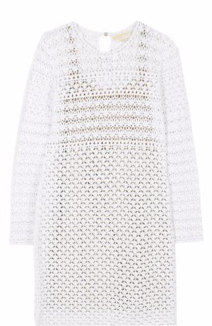 Кружевное мини-платье с длинным рукавом MICHAEL Kors. Цвет: белый