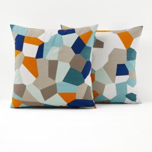 Наволочка с рисунком, Refragment La Redoute Interieurs. Цвет: белый/синий/оранжевый