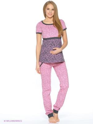 Комплект для беременных и кормящих (футболка с секретом кормления+брюки) Hunny Mammy. Цвет: розовый