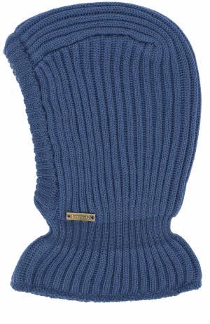 Шерстяная шапка фактурной вязки с воротником Il Trenino. Цвет: синий