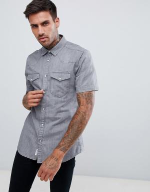 River Island Серая джинсовая рубашка классического кроя в стиле вестерн Islan. Цвет: серый