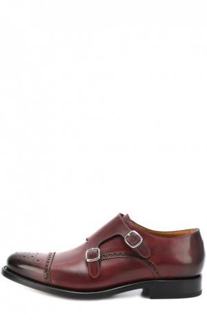 Кожаные монки с двумя пряжками O`Keeffe. Цвет: бордовый
