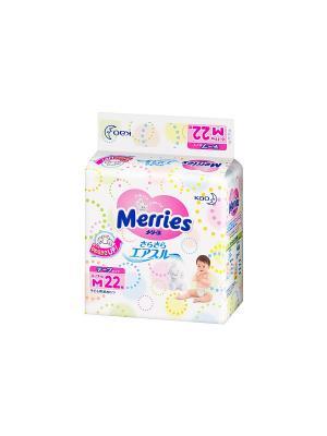 Подгузники для детей размер M 6-11кг, 22шт MERRIES. Цвет: белый