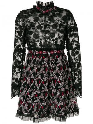 Платье с цветочной вышивкой Giamba. Цвет: чёрный