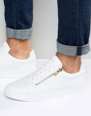 Glorious Gangsta Белые кроссовки с золотистой молнией London. Цвет: белый