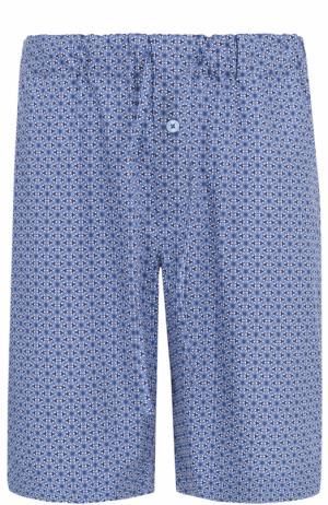 Хлопковые шорты свободного кроя с принтом Hanro. Цвет: синий