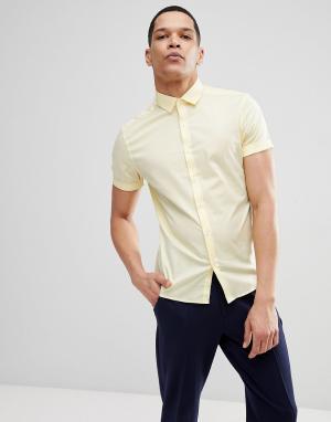 ASOS Желтая облегающая рубашка с короткими рукавами DESIGN. Цвет: желтый