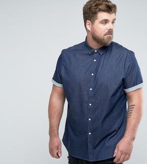 ASOS Темная джинсовая рубашка скинни PLUS. Цвет: темно-синий