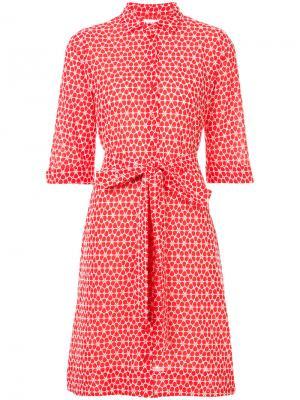 Платье-рубашка с завязками на талии Lisa Marie Fernandez. Цвет: красный