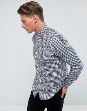 Abercrombie & Fitch Сине-белая поплиновая рубашка узкого кроя в клеточку Fit. Цвет: темно-синий