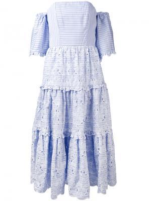 Полосатое платье с открытыми плечами Erdem. Цвет: синий