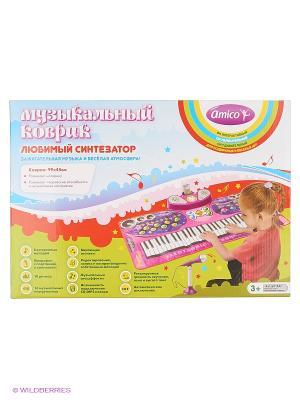 Коврик музыкальный Любимый синтезатор Amico. Цвет: розовый