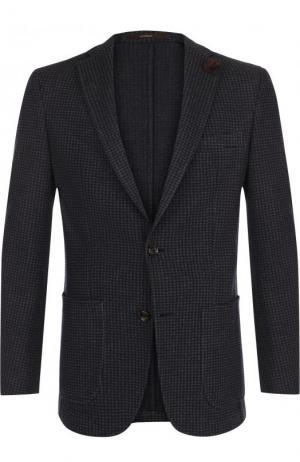 Однобортный пиджак из смеси хлопка и шерсти Windsor. Цвет: темно-синий