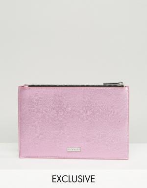Skinnydip Эксклюзивный розовый клатч металлик с молнией сверху. Цвет: розовый
