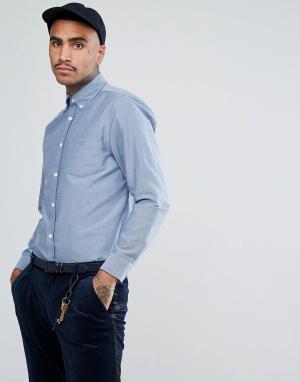 Aquascutum Синяя оксфордская рубашка с логотипом на кармане Bevan. Цвет: синий