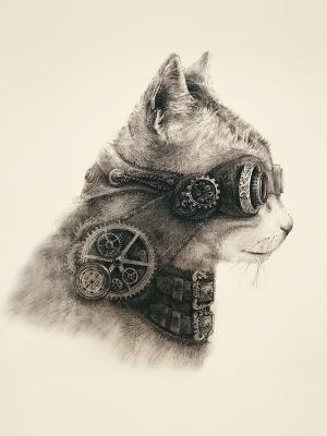 Наволочка Супер кот Матренин Посад. Цвет: бежевый, серый
