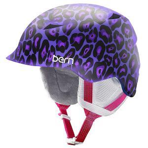 Шлем для сноуборда детский  Snow Zipmold Camina Satin Purple Leopard/White Liner Bern. Цвет: фиолетовый