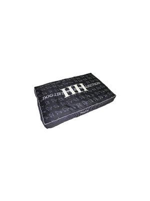 Подушка с принтом DOG LIFESTYLE черный M 110*75*15 см для собак Happy House. Цвет: черный