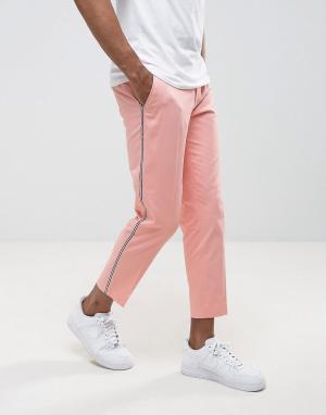 ASOS Строгие розовые брюки скинни с полосками. Цвет: розовый