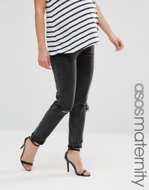 ASOS Maternity Рваные джинсы слим для беременных в винтажном стиле с посадкой под жив. Цвет: черный