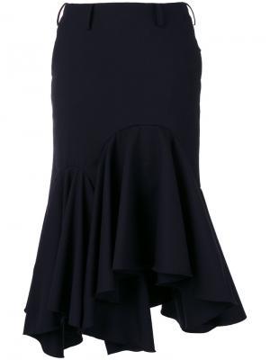 Расклешенная юбка Facetasm. Цвет: синий